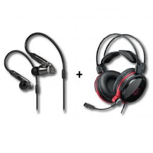 [BUNDLE] ATH-IEX1 In-Ear Hybrid Multidriver Headphones + ATH-AG1x High-Fidelity Closed-Back Gaming Headset
