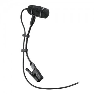 Cardioid Condenser Clip-on Instrument Microphone for A-T Wireless System